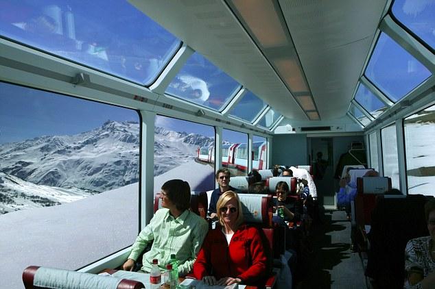 Switzerland, Uri, Alps, Andermatt, Glacier Express Zermatt - Saint Moritz near Oberalp Pass